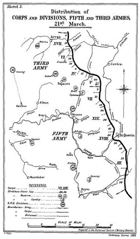 Distribution of Corps and Divisions, Fifth and Third Armies, 21st March 1918