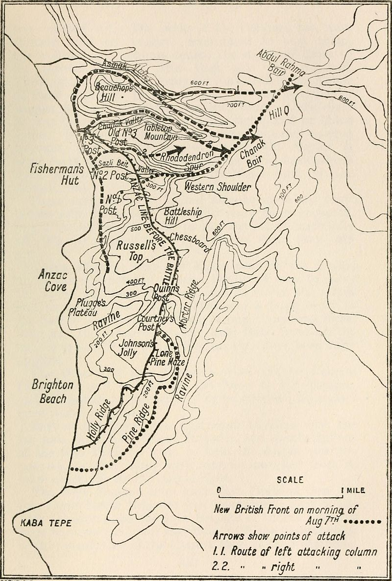 Map showing Battle of Sari Bair First Phase