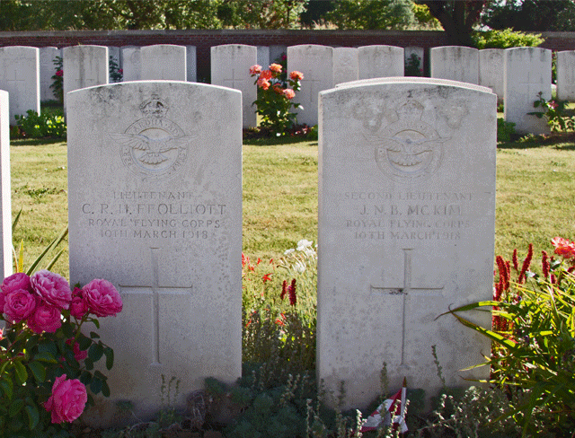 Ffolliott and McKim headstones at the Military Cemetery, Rue Petillon, Fleurbaix