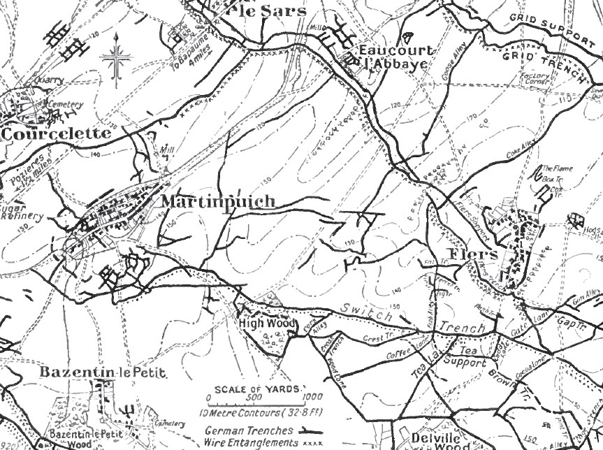 Map showing Bazentin le Petit, High Wood and Switch Line Trench