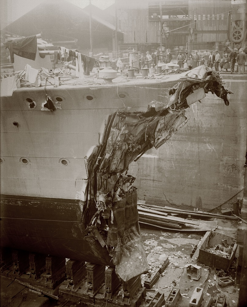 HMS Broke in dry dock on Tyneside