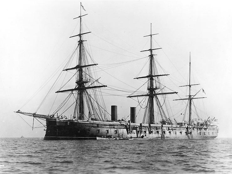 HMS Northumberland with three masts in 1890