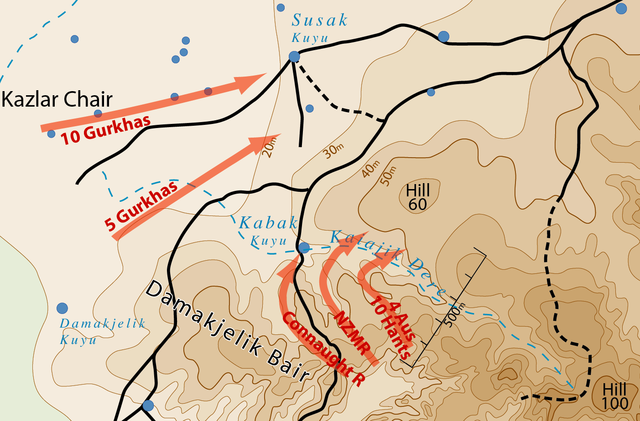 Map showing Battle of Hill 60, Gallipoli