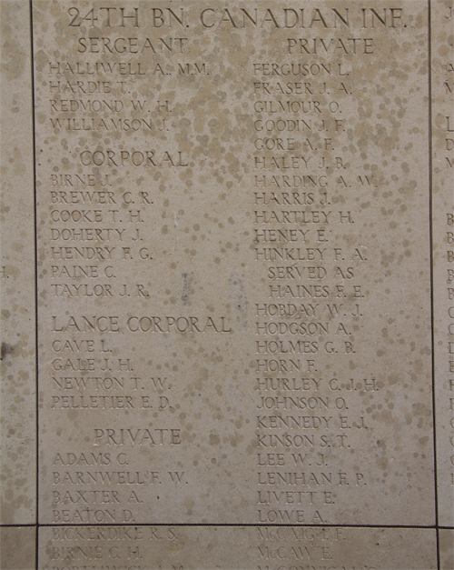 Menin Gate 24th Battalion Canadian Infantry