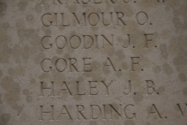 Alfred Francis Gore on Menin Gate Memorial