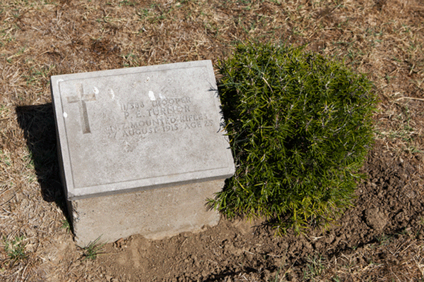 Percy Edward Turnor grave, Hill 60 Cemetery, Gallipoli