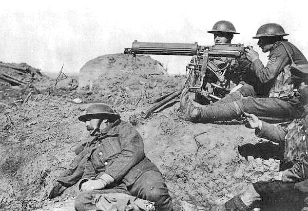 A Vickers machine gun in action on the Western Front