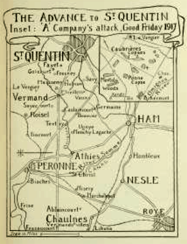Map showing Advance to St Quentin by Captain G K Rose, MC, of the 2/4th