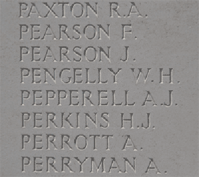 Alfred John Pepperell on Loos Memorial at Dud Corner Cemetery