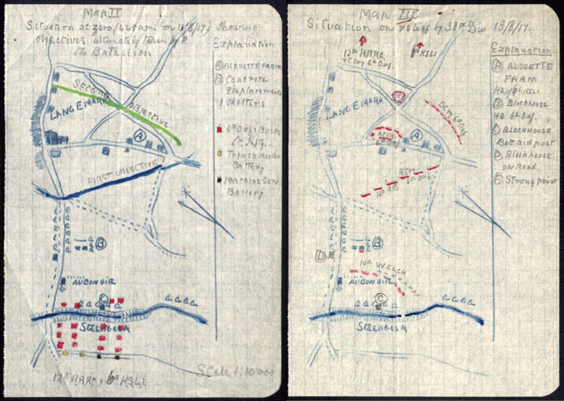Sketch of 6th Battalion Oxford and Buckinghamshire attack on Langemarck