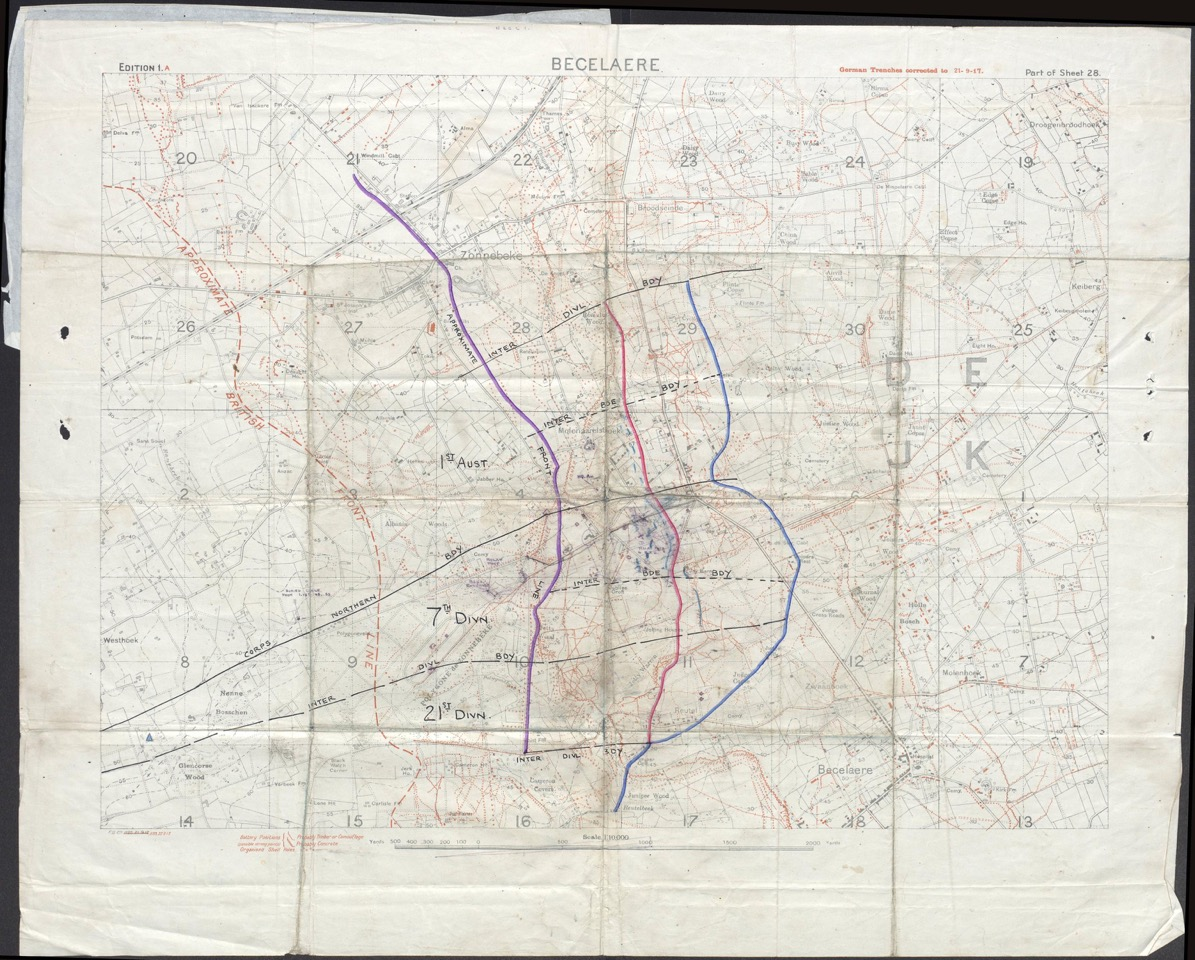 Map showing area of 8th Devons' attack, including Red Line and Blue Line positions