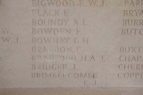 George Henry Bowhay at Arras Memorial
