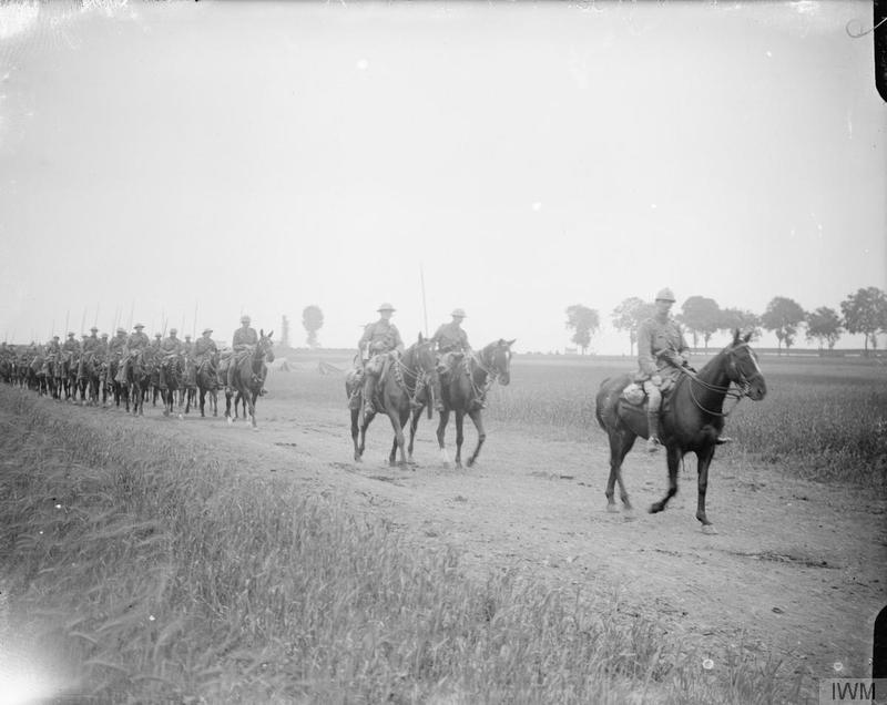 British Army Lancers, unidentified but possibly the 9<sup>th</sup> Lancers, on the move off the Albert-Amiens road, July 1916