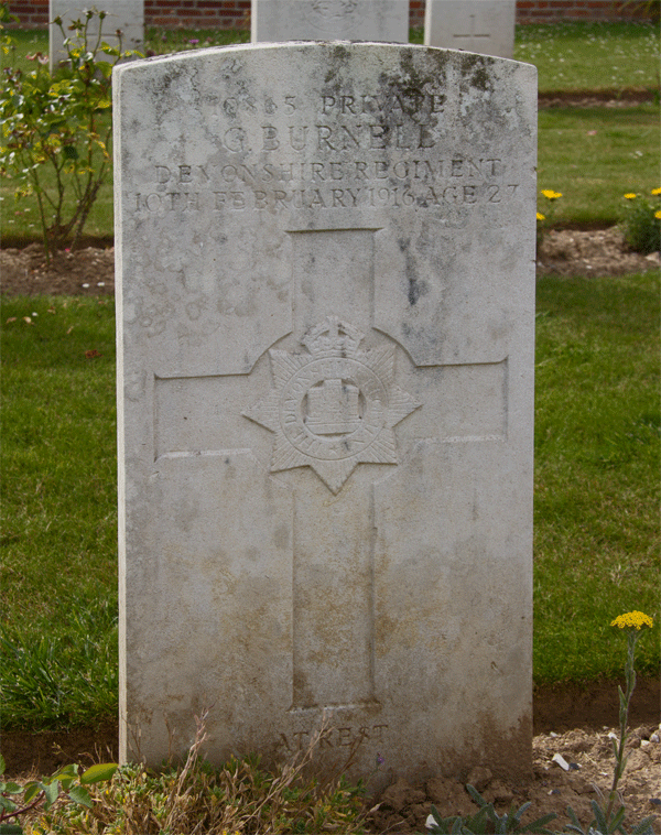 George Burnell grave at Dartmoor Cemetery Becordel-Becourt