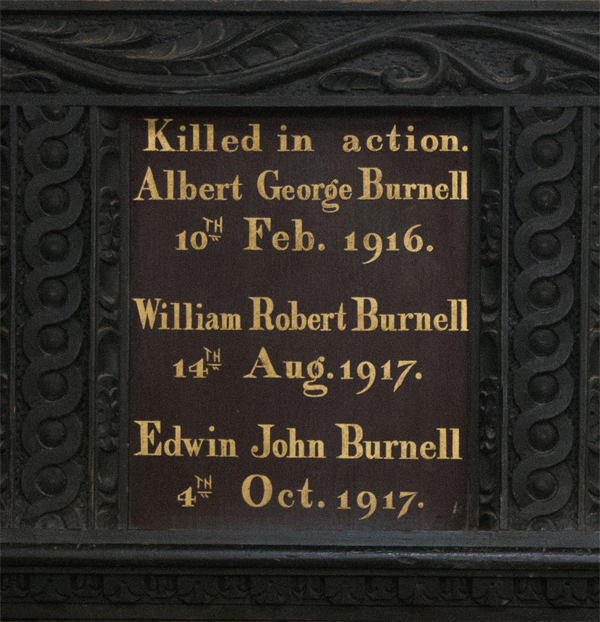 Burnell Brothers Memorial Board in St Petrox