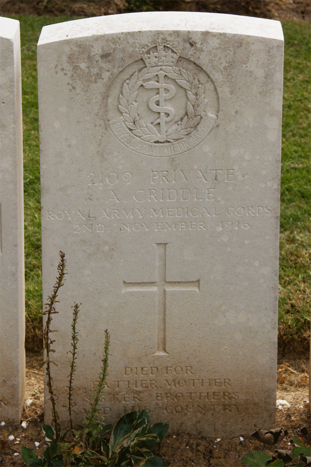 Alfred Criddle gravestone in Grove Town Cemetery near Méaulte, France