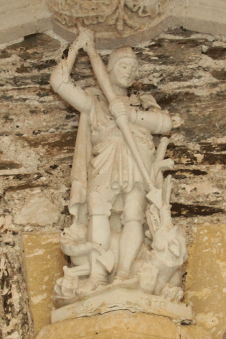 Statue of St George in the porch of St George's Church Dittisham