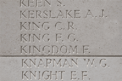 Frederick George King on Loos Memorial at Dud Corner Cemetery