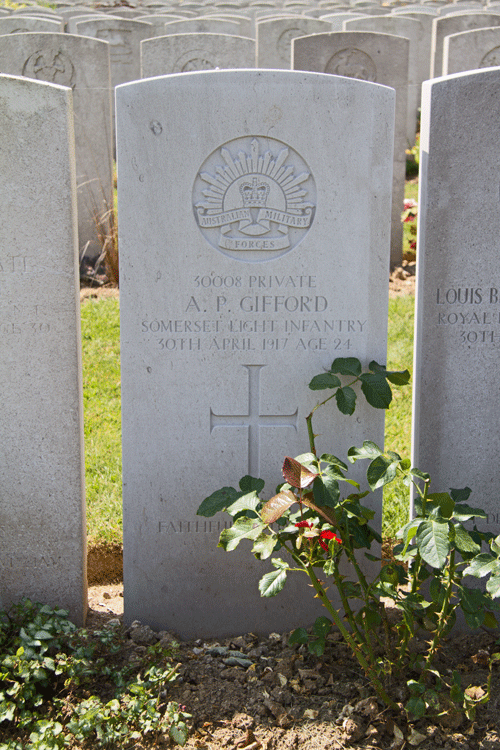 Albert Patrick Gifford headstone at Duisans British Cemetery