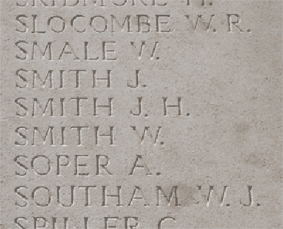John Henry Smith on Loos Memorial at Dud Corner Cemetery