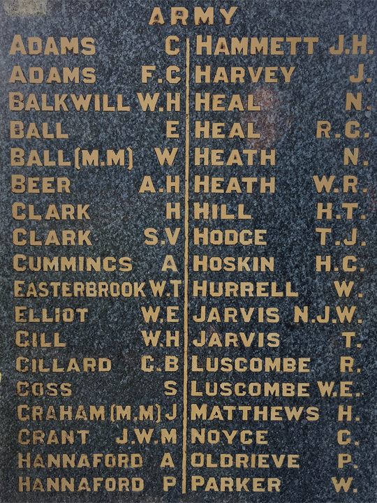 Kingsbridge War Memorial Thomas Hodge