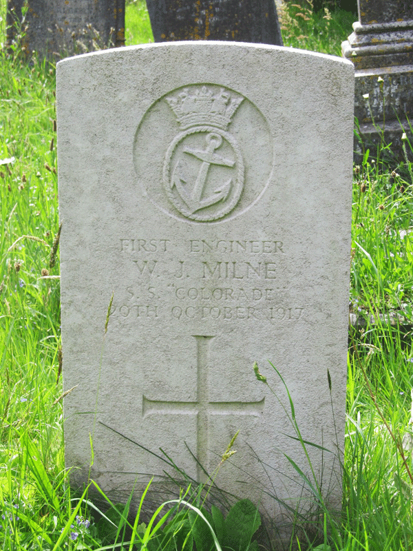 Wllliam John Milne headstone at Longcross Cemetery Dartmouth