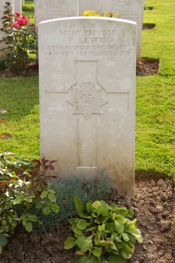 Percy Lewis gravestone at Delville Wood Cemetery