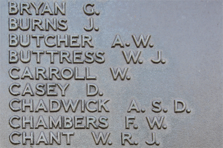 William Carroll on Plymouth Naval Memorial