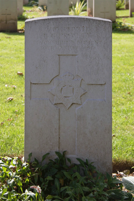 Cyril George Privett headstone at Gorre Cemetery