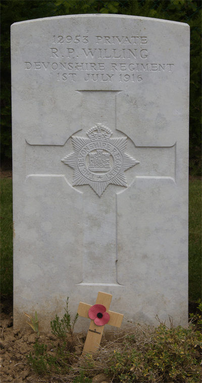 Robert Willing Gravestone in Devonshire Cemetery