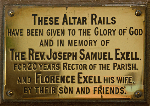 Plaque for Altar Rails at St Peter's Church Stoke Fleming