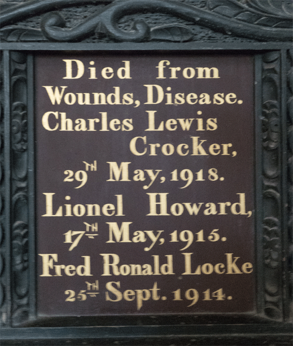 Lionel Howard on St Petrox Memorial Board