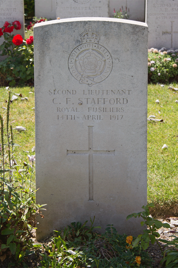 Cyril Francis Stafford headstone at Haute-Avesnes Cemetery