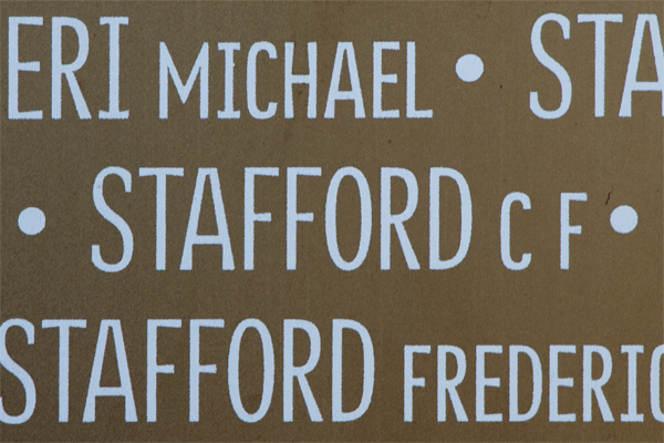 Cyril Francis Stafford Ring of Memory memorial at Notre Dame de Lorette