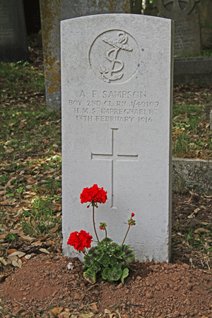 Albert Frederick Sampson Gravestone in St Clements Townstal Dartmouth