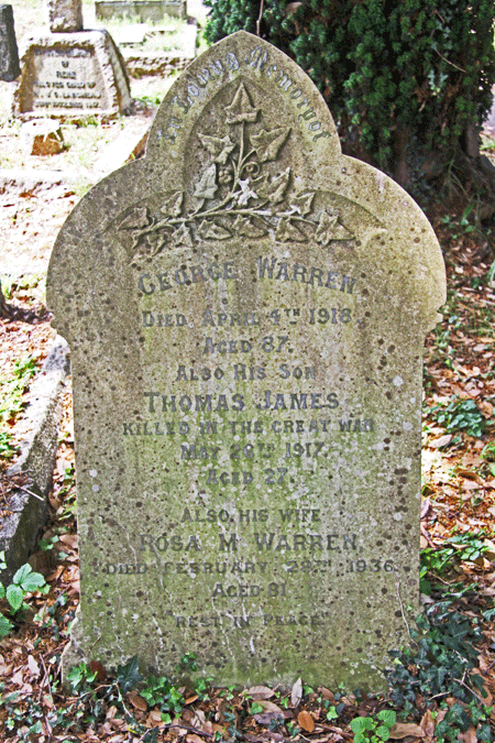 Warren family headstone at St Clements Church Townstal