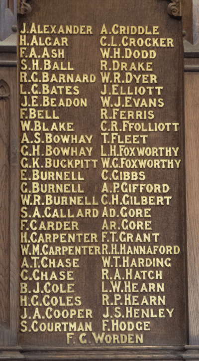 St Saviour's Memorial Board