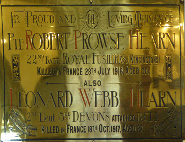 Memorial tablet for Robert and Leonard Hearn on the north wall of St Saviours