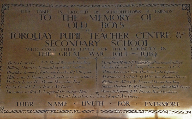 Plaque in Torbay Boys Grammar School TBGS with George Lewis Bates