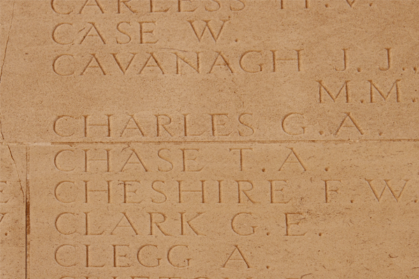 Thomas Arthur Chase at Thiepval Memorial