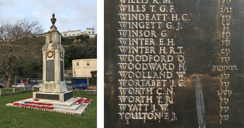 Harry Woodward on Torquay Memorial