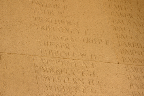 Charles Tucker at Arras Memorial
