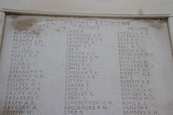 Thomas Rendle at Tyne Cot Memorial