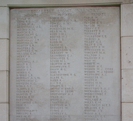 Somersets Light Infantry and Frederick John Widdicombe at Tyne Cot Memorial