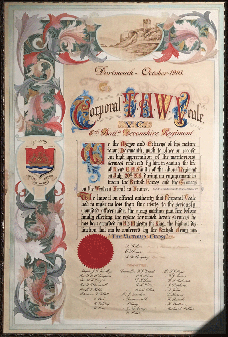 Illuminated address presented to Theodore Veale, and replica VC, on display at Dartmouth Museum