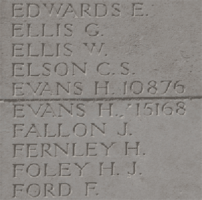 William Hohn Henry Evans on Loos Memorial at Dud Corner Cemetery