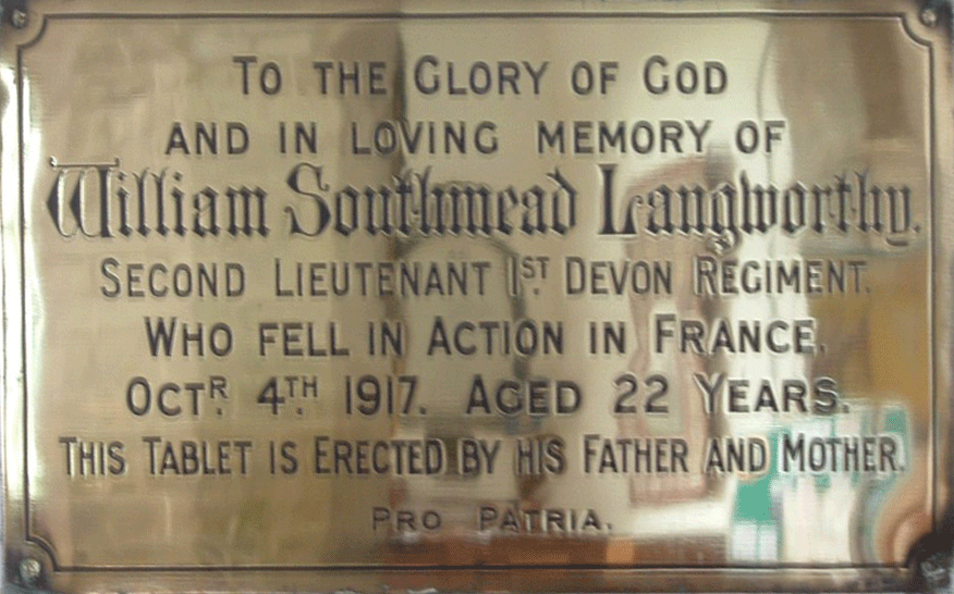 William Southmead Langworthy memorial at St George's Modbury